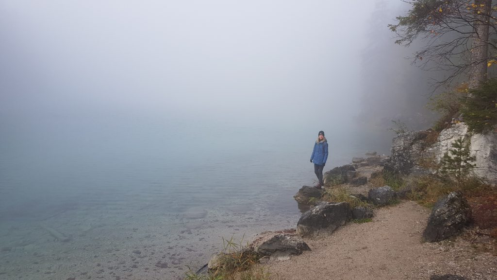 Eibsee Lake in Bavaria Germany -hike around the lake -visibility close to zero