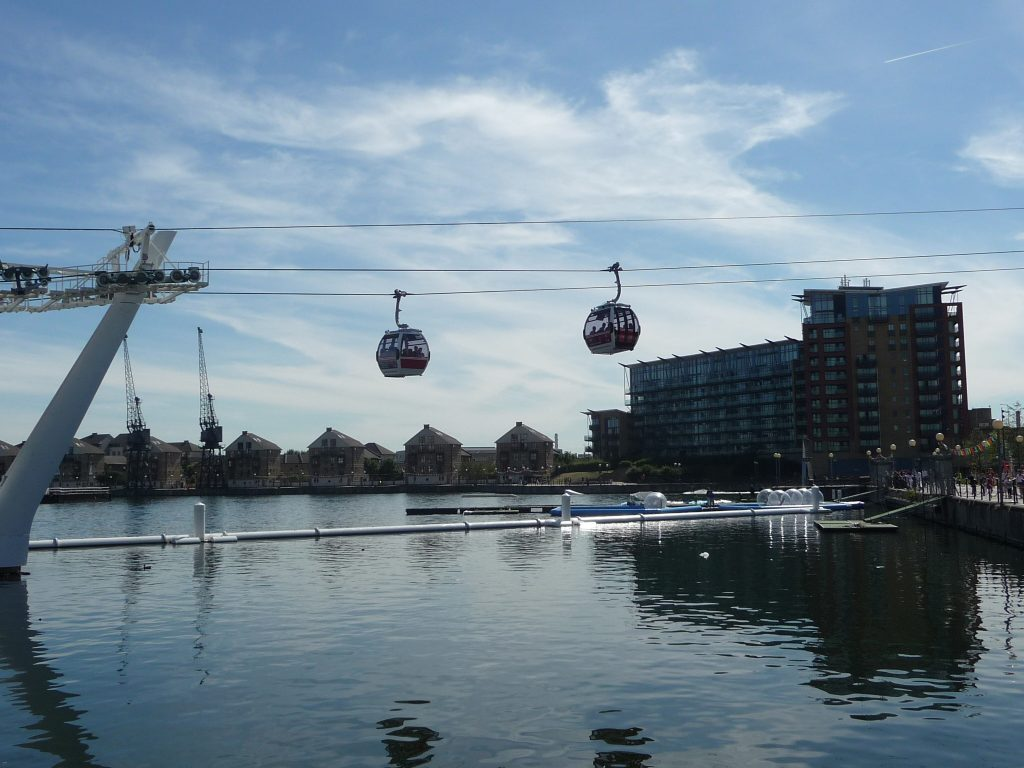 Romantic places in London - Emirates Air Line cable car