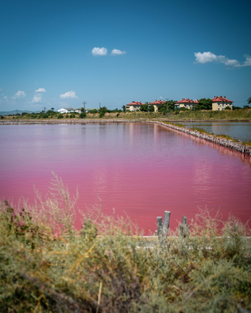 Natural wonders in Europe - Pink Lake in Bulgaria