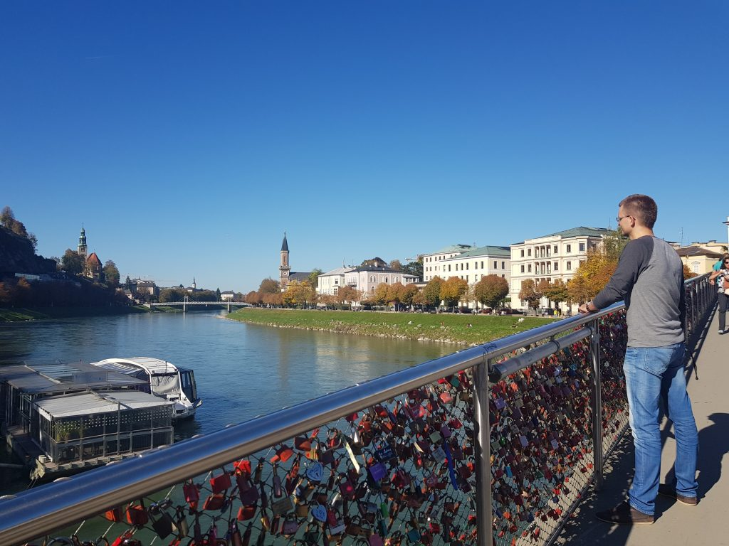 Europe′s most beautiful bridges - Love Locks Bridge - Salzburg, Austria