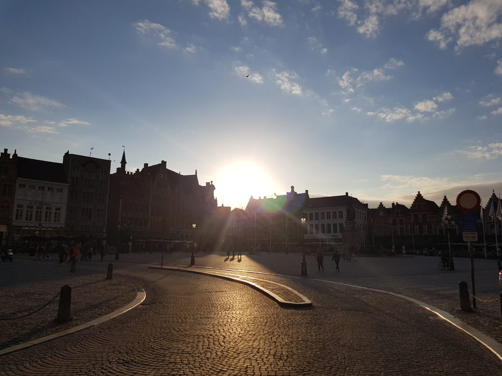 Best sunsets in Europe - Market Square Bruges, Belgium